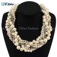 Wholesale Exaggerated Women s Chunky Necklaces Fashion Pearls Crystal Beads Chokers Statement Jewelry N1408