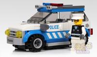 Building Plastic Blocks Free Shipping Child Enlighten Building Blocks Set Patrol Wagon Self-locking Bricks Police Car Toys DIY Toy For Children