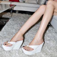 Spool Heel wedges - 2014 New summer plus size women sandals platform wedges sandals flip flop ultra high heels sandals women s shoes