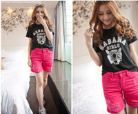 Shorts Women Washed 6 Candy Color 2014 women summer Wide Leg denim short wahsed destroyed hot Clubwear Hole Ripped Beach shorts 26-31 #2107