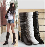 Cowboy Boots big legged woman - Free drop shipping big size Snow boots for women winter flat heel flatbottomed high leg warm boots colors shoes