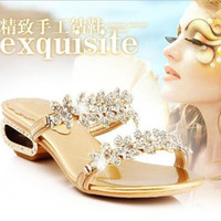 Women wedding party slippers - 5cm high heels New fashion Summer wedges rhinestone sandals woman slippers genuine leather shoes women party wedding shoes
