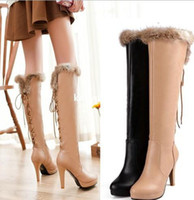 Wholesale High heeled shoes boots big size fashion fur ladies leather woman snow boots for women winter shoes