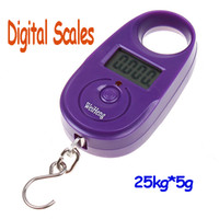 Pocket Scale <50g 25kg 25kg*5g 25kg 5g Mini Purple Display Hanging Lage Fishing Weighing Digital Scale KG LB , freeshipping dropshipping