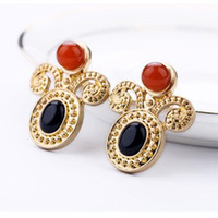 Wholesale Jewelry Vintage Metal Inlay Resin Royal Court earring