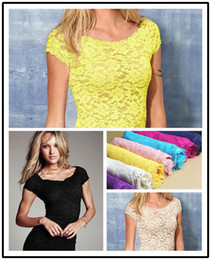 Wholesale Sexy Floral Full Lace Short Sleeve Tee Shirt Stretch Scoopneck Top cute D