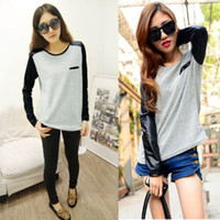 Wholesale Women Girls Trendy Casual Faux Leather Long Sleeve Splicing T shirt Tops Blouse
