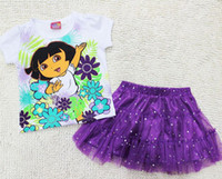 Wholesale jumpsuits Girl Dora Princess Top Shirt Summer Tutu Dress Outfit Costume Skirt Y