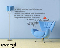 Wholesale MARILYN MONROE I M SELFISH Quote Wall Sticker Art Decal Home Decor Vinyl Mural