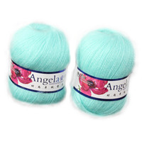 Yes White Mercerized Fine Wool Yarn Skein Angola Mohair Cashmere Wool Luxury Angola Mohair Cashmere Wool Yarn Skein 2pcs
