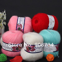 Yes Pink,White,Cyan,Red Mercerized 8PCs Set 4 Colors Knitting Wool Yarn Skein Angola Mohair Cashmere on Discount