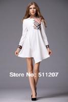 Casual Dresses Strapless A Line Spring summer new fashion 2014 European brit brand preppy style mini dress white black plaid xl fall long sleeve women's clothes