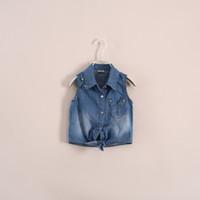 Wholesale 2014 new brand fashion girls denim shirts star metal fittings ornament cowboy jeans jacket for big girl children tank tops kids vest top