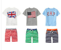 brand fashion t-shirt - 2014 Summer Fashion Children s Clothing Outfits Brand Leisure Baby Boy Suits Sets GB USA Flag Short Sleeve T shirts Stripe Pants I0603