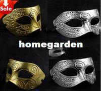 Wholesale on sale ancient Greek Roman warriors man mask venetian masquerade party prop carnival carnival costume gold silver