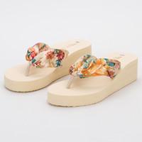 Wholesale Bohemia flip flops bronzing silk cool Slippers Summer Cool Slippers Wedges Women Sandals Women size