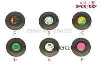 Bamboo vinyl record - Pieces Sets Spinning Hat Retro Vinyl Record Drinks Coasters Vinyl Coaster Cup Mat