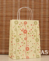 Paper Hand Length Handle Kraft Paper Size 27x21x11cm Gift Paper Bags Recyclable flower handle Kraft Bags Wholesale Free Shipping 40pcs lot