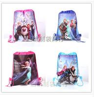 Wholesale Retail styles frozen drawstring bags Anna Elsa backpacks handbags children school bags kids shopping bags present