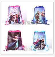 Wholesale Retail styles frozen drawstring bags Anna Elsa backpacks handbags children school bags kids shopping bags present