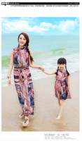 Wholesale Family Clothes Mom amp Baby Summer Bohemian Chiffon Beach Dresses Girls Long Printing Dress Holiday Vintage Dressy H0571