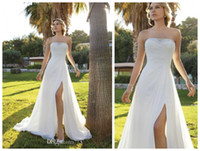 Cheap 2014 Simple Strapless A-Line Chiffon Wedding Dresses Demetrios Ruched Floor Length Chapel Train Side Slit Bridal Gowns