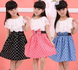 Wholesale Hot Summer Young Girls Dresses Children Layered Flouncing Around Colla Princess Dress Kids Printed Dots Short Sleeve Dressy I0612