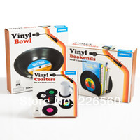 Wholesale EMS Pieces Sets Spinning Retro Vinyl Record Drinks Coasters Vinyl Coaster Cup Mat