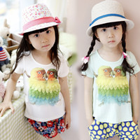 solid shirts - Summer clothing Girls T Shirts Korean Solid feather Parrot pattern Kids T Shirts Children short sleeve T Shirt size TX467