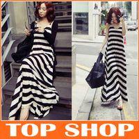 Casual Dresses big brands flooring - Brand New Summer Dress Black And White Striped Vest Skirt Sleeveless Cotton Dress Big Skirt FZ0025