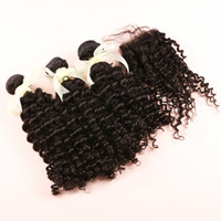 curly human hair extensions - 3pcs Human Hair Bundles with pc closure Brazilian Peruvian Indian Malaysian Mongolian Virgin Hair Deep Curly Remy Human Hair Extensions