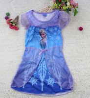 TuTu Summer Straight Wholesale 2014 New Frozen Girls dresses baby Summer Cartoon Frozen Princess clothing children's short sleeve long dress baby pajamas