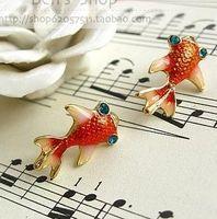 Cheap New Fashion Red Carp Earrings Goldfish Stud earrings C1R2 Free Shipping