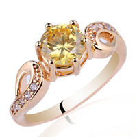 With Side Stones Women's Gift Women 14K Gold Filled Sterling 925 Silver Ring Yellow Citrine 7mm Round R018