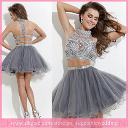 Wholesale Hot Selling Two Pieces Halter A line Organza Crystal Short Prom Dresses Party Homecoming Gray Graduation Dresses