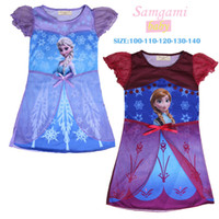 TuTu Summer Ball Gown 2014 children summer clothes girls girl Anna Elsa Frozen princess short sleeve dress summer dresses in stock C10