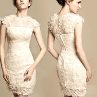 Wholesale 2014 Party Dresses Flower Short Prom Dresses Jewel Lace Applique Tulle Evening Dresses
