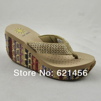 Wholesale Women wedges flip flops shoes summer platform sandals slip resistant plastic flip slippers transpierce