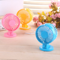 Wholesale Mini Electric Fan Usb Small Fan Cartoon Silent Fan Double Motor Small Electric Fan Double Leaf Fan Six Colors