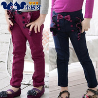 Jeans Girl Summer 2013 autumn and spring children's clothing ruffle cute bow buttons baby female child long trousers boot cut jeans free shipping