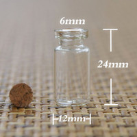 Glass Gift 122406 Free Shipping wholesale 500 lot 0.8ml Mini Glass Bottle with cork, sample vials. wishing bottle 12*24*06 MM