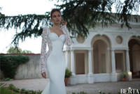 Sheath/Column Reference Images Square 2014 Berta Bridal Vintage Lace Mermaid Wedding Dresses Sweetheart With Long Sleeves Sexy Open Back Silk Chiffon Summer Beach Formal Gowns