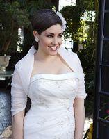 Wholesale 2016 Charming Bridal Wedding Jackets Bolero Organza Ivory High Collar Half Sleeves Applique Beads Shawl Wrap Wedding Accessory
