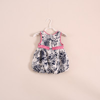 Wholesale ink and wash painting fashion girls dresses Vintage sleeveless baby dresses brand summer children sundress kids tunics clothing