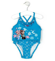 Girl Two-piece 4 5-6 7-8 9-10 (4y-10y) 2014 Frozen Elsa Anna Swimwear 2Piece Princess Girls Embroidery Swimming Costume UV protection Bathing Suits Bikini Beach Wear Preorder