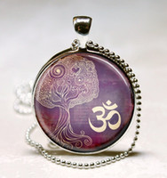 Pendant Necklaces american buddhism - G37 Tree Of Life Necklace Yoga Jewelry Om Aum Zen Meditation Buddhism Purple Art Pendant With Ball Chain Included