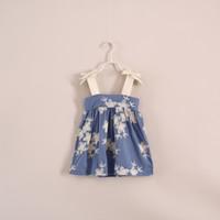 Wholesale Embroidering Flower fashion girls slip dresses Vintage baby dresses toddler suspender dress clothing cotton kids casual vest skirts