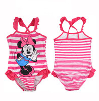 Wholesale Kids Girl Cute Swimming suit Princess One Piece Bathing Suit Girl Snow White Swimwear for T MINNIE MOUSE New Arriva l