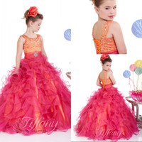 Wholesale Best selling a line spaghetti straps red pageant girls dresses sweep train ruffles cheap pageant girls dresses