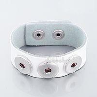 Wholesale 2014 Hot Sale White Color Leather Chunk Noosa Snap Bracelets PBNB